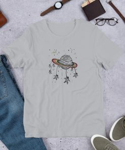 Astronaut with planet Short Sleeve Unisex T Shirt